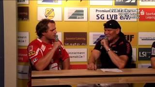 SG LVB Leipzig vs LHC Cottbus 42:24 - Pressekonferenz nach dem Spiel