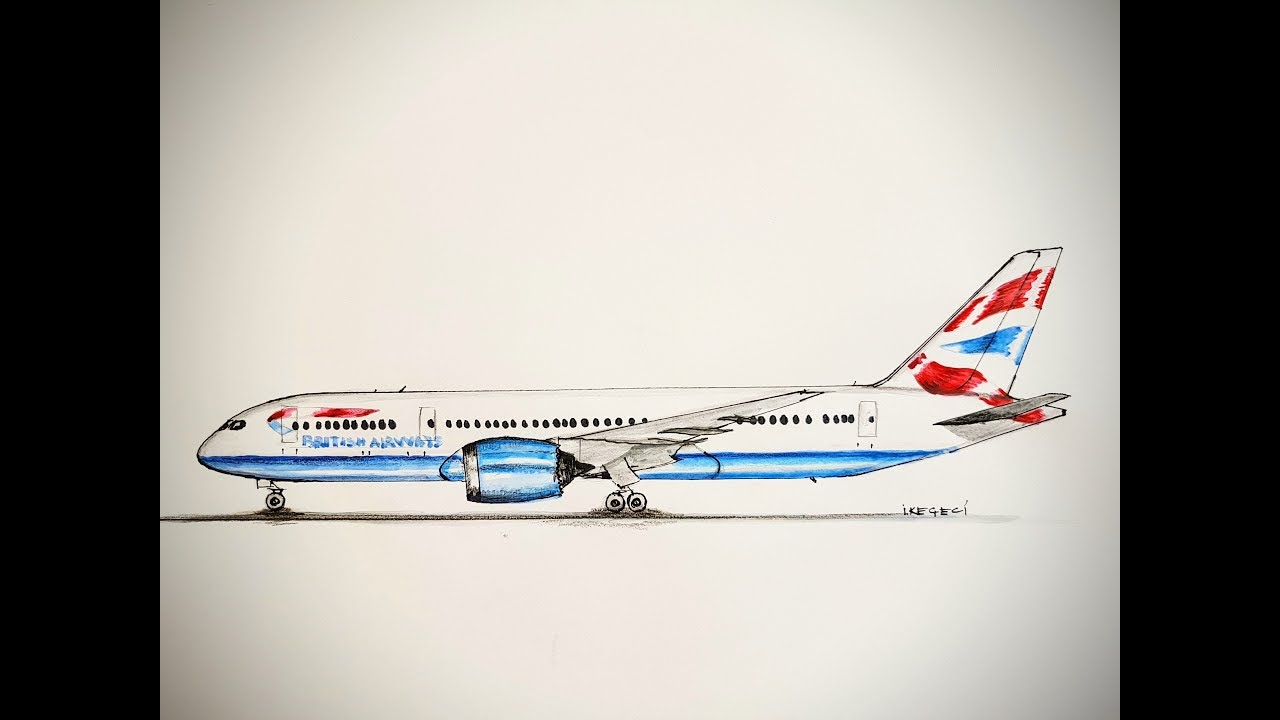 British Airways, B 787-800, Drawing timelapse