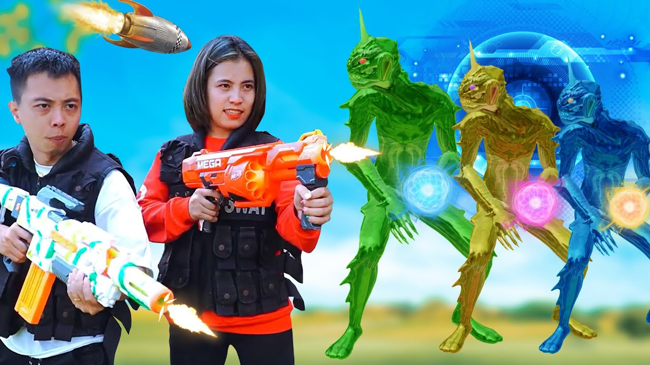 XGirl Nerf War: PROFESSION Squad Hero Water Monster Battle Nerf Guns Fight CrimeS Compilation Battle