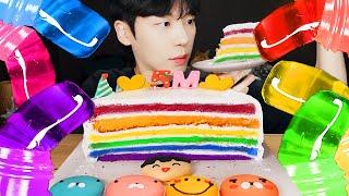 ASMR MUKBANG | 직접 만든 갤럭시 꿀젤리 레인보우 디저트 먹방 케이크 마카롱 초콜릿 & R…