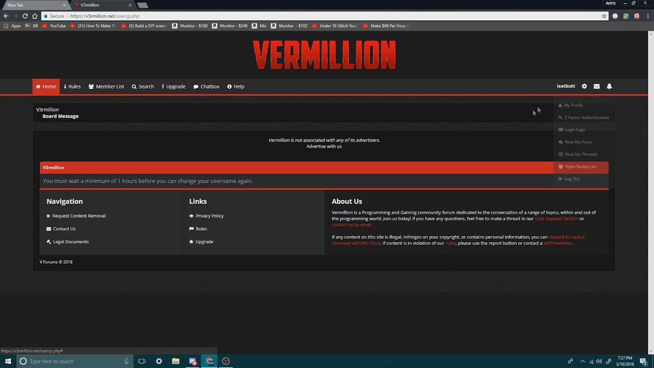 How to chage your V3rmillion username