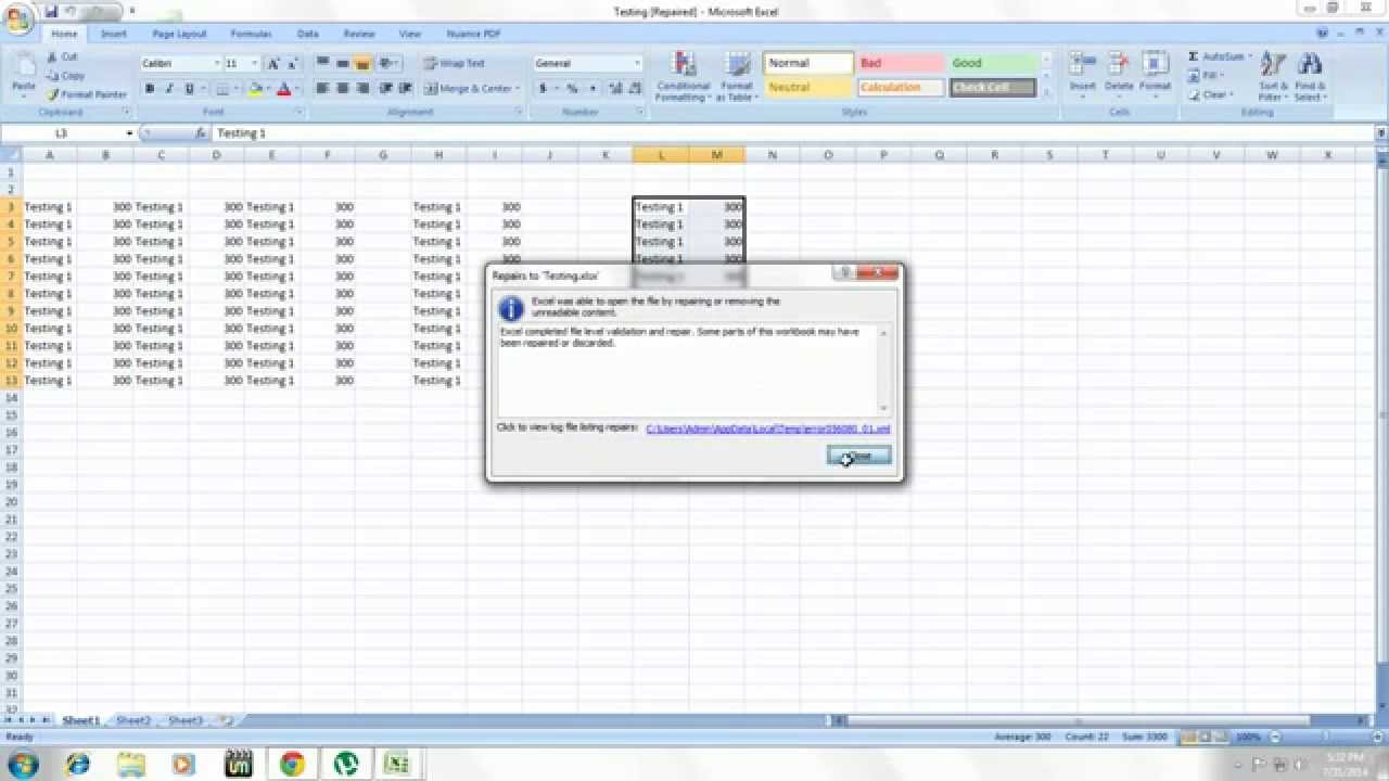 freeware excel file repair tool