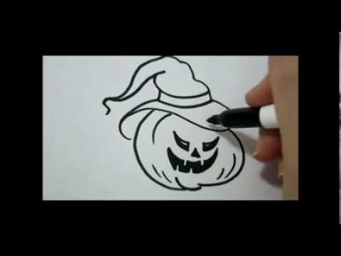 How to draw halloween easy pumpkin face