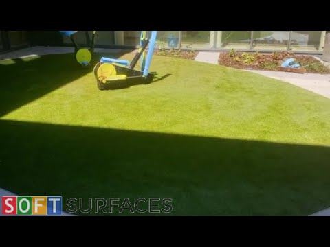 Artificial Grass with Rubber Shock Pad Installation at London, Greater London   Outdoor Gym Surface