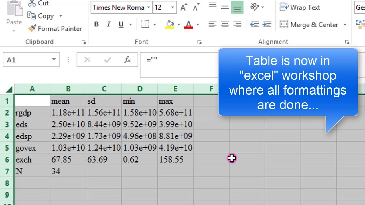 (Stata13):Export Summary Statistics Output to Excel, Word#exportoutput  #tables #statatoexcel #regre
