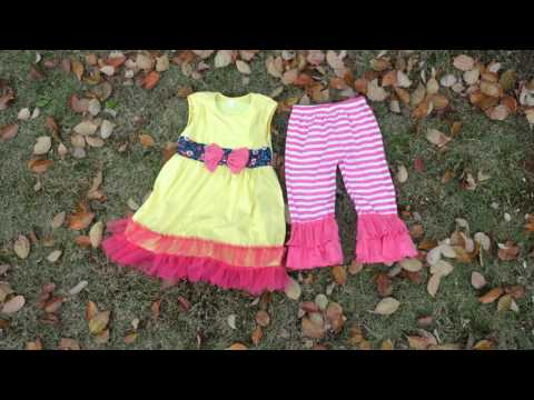 Baby Girls Boutique Outfits Toddler Girls Dress Bowtie 2pcs Clothing