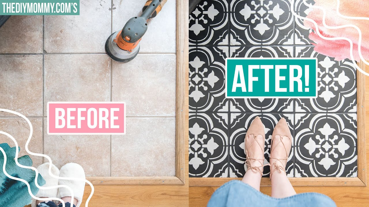 How To Paint Tile Floors With A Stencil Youtube