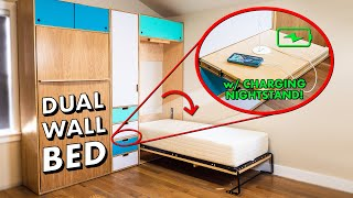 How To Build A DUAL Murphy Bed with HIDDEN CHARGING Nightstand