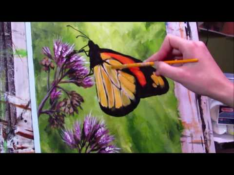 Painting a Monarch butterfly in acrylics