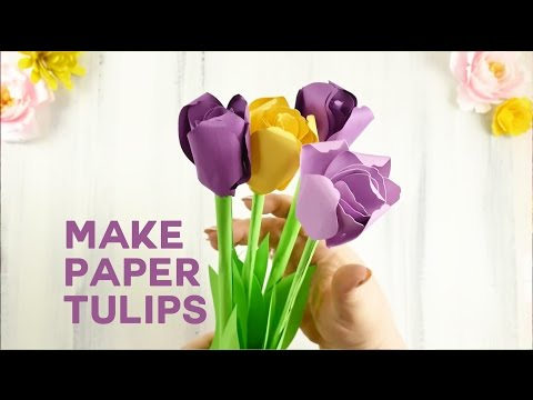 Pretty Paper Tulip Flower Tutorial (Rolled Flowers)