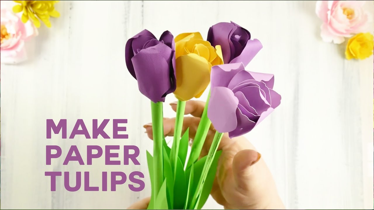 Pretty Paper Tulip Flower Tutorial Rolled Flowers Youtube