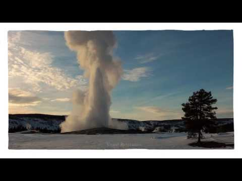 Yellowstone, Old Faithful Geyser Erupting on a Winter Afternoon