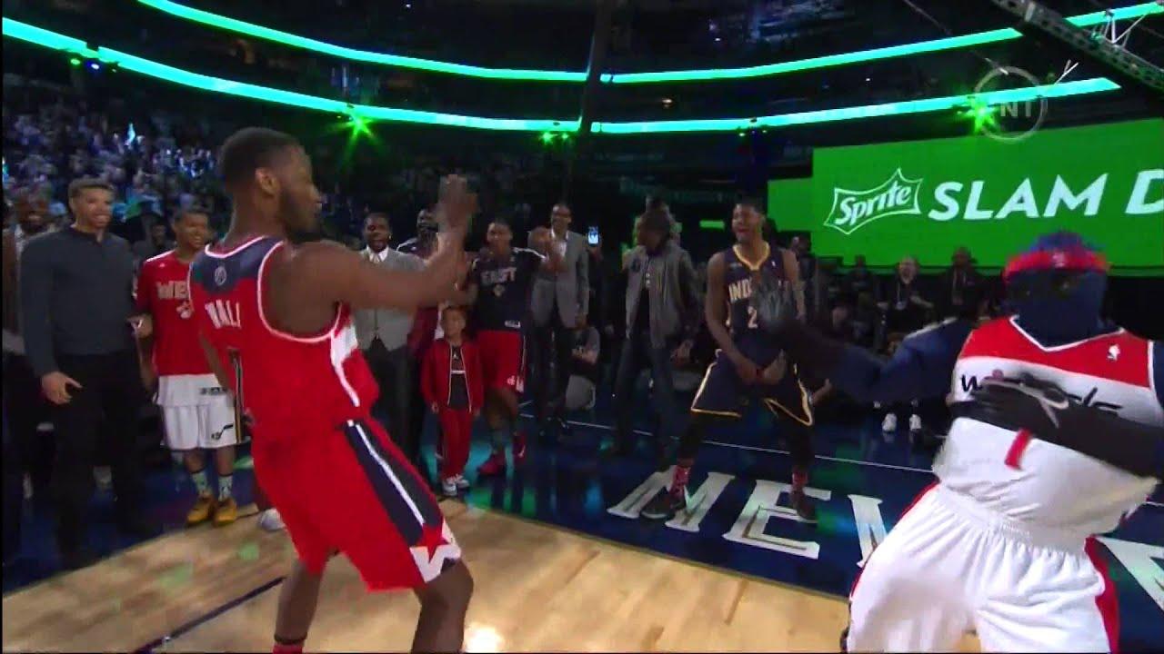 John Wall Double Pump Dunk Over Wizards Mascot NBA Contest 2014