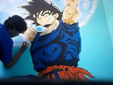 GOKU PAINTING ON THE WALL Pintando a Goku en la p  YouTube