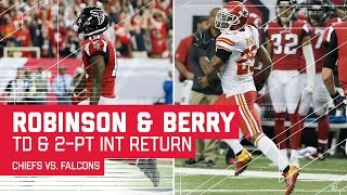 Qb matt ryan takes the lead with a clutch touchdown pass, but again safety eric berry picks of 2-point pass attempt and returns it length fiel...