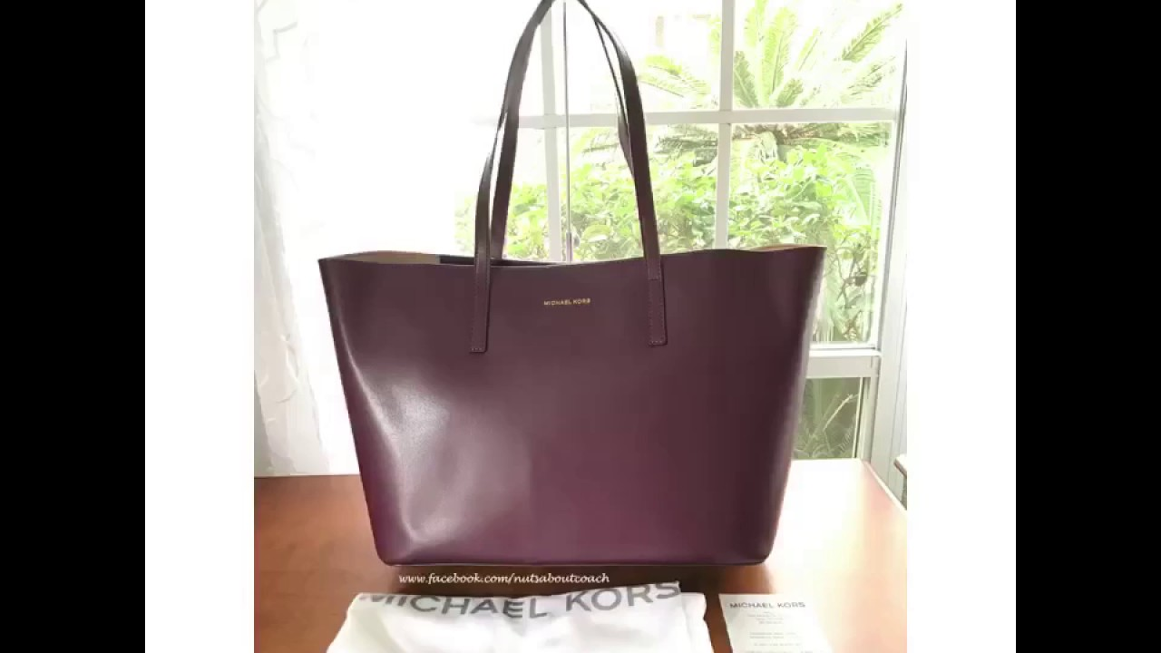 3c225e4529 MICHAEL Michael Kors Emry XL Extra Large Leather Black Plum Gold Tote Bag