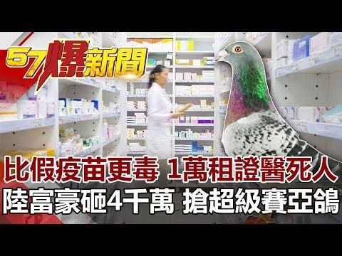 比假疫苗更毒 1萬租證醫死人  陸富豪砸4千萬 搶超級賽亞鴿《57爆新聞》網路獨播版