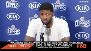 Paul George on Carmelo Anthony's return & LA Clippers 117-97 win vs Blazers Postgame 12-3-2019
