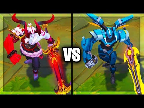 Blood Moon Aatrox vs Mecha Aatrox Epic Skins Comparison (League of Legends)