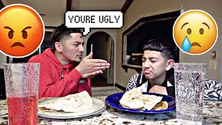 Being MEAN to my lil bro to see how he reacts! 😂😡 (Taco Tuesday mukbang!)