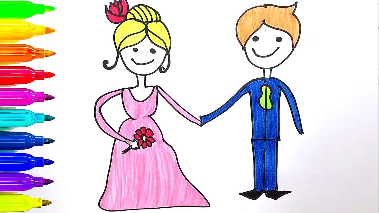learn colors for kids how to draw groom and bride coloring page
