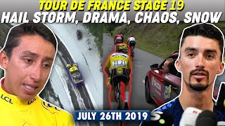 Tour de France Stage 19 Hail Storm (SNOW & CRAZY MUDSLIDE) Bernal vs Alaphilippe Yellow Jersey Drama