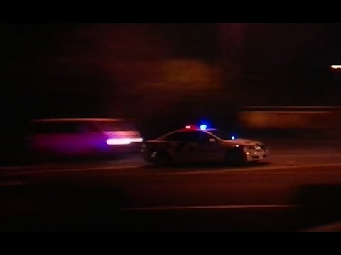 Police car responding lights and sirens led light bar at night police car responding lights and sirens led light bar at night aloadofball Choice Image
