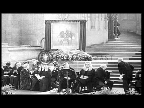 Queen Elizabeth II and Winston Churchill during a ceremony to honor Sir Winston C...HD Stock Footage