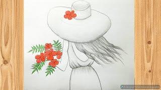 Elinde çiçek tutan kadın