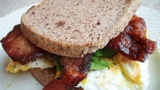 Paleo Powder Encrusted Bacon Egg Sandwich