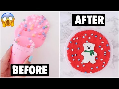 EXTREME HOLIDAY SLIME MAKEOVERS *fixing my old and ugly slimes*