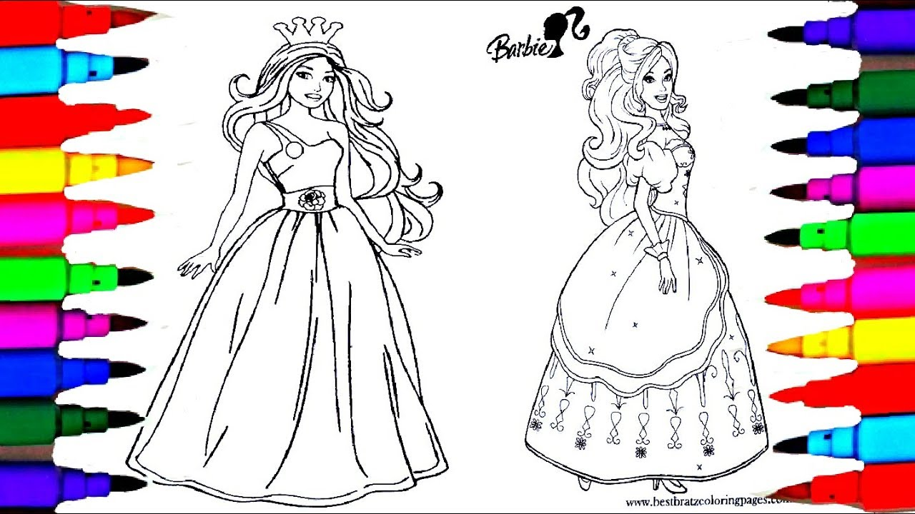 Learn Colors By Drawing Pages Coloring Barbie Princess Coloring