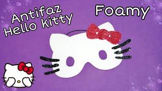 Como hacer un 🎭ANTIFAZ🎭 *Hello kitty* en goma eva o foamy fácil para estos CARNAVALES