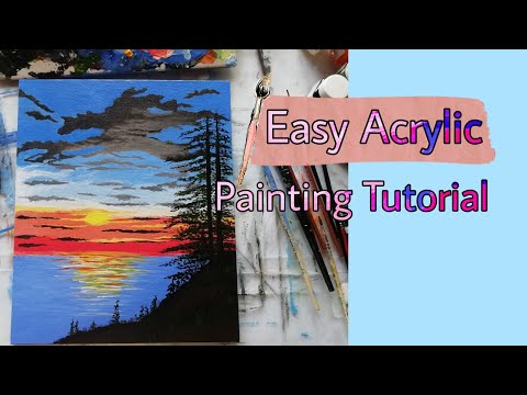 Easy Acrylic Painting Tutorial / Nature landscape painting / Easy Sunset Painting