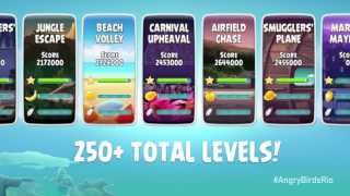 Play over 250 levels in Angry Birds Rio