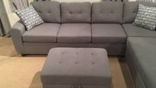 500413 Grey Reversible Sectional Sofa