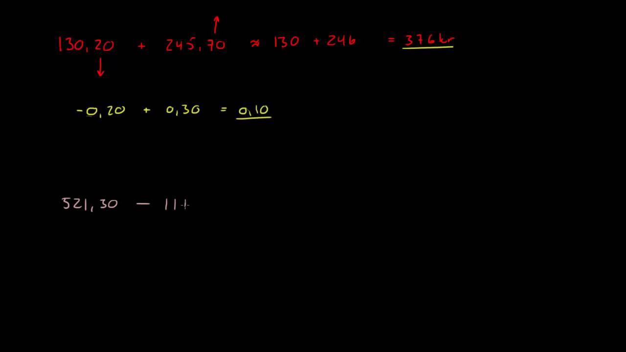 2.2 - Overslagsregning 1 - Addisjon og subtraksjon (1P)