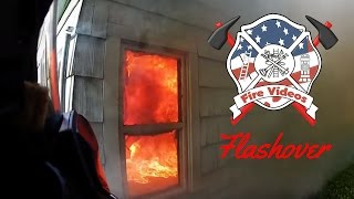 Up close structure fire Flashover with intense flames helmet cam fully involved rollover backdraft thumbnail