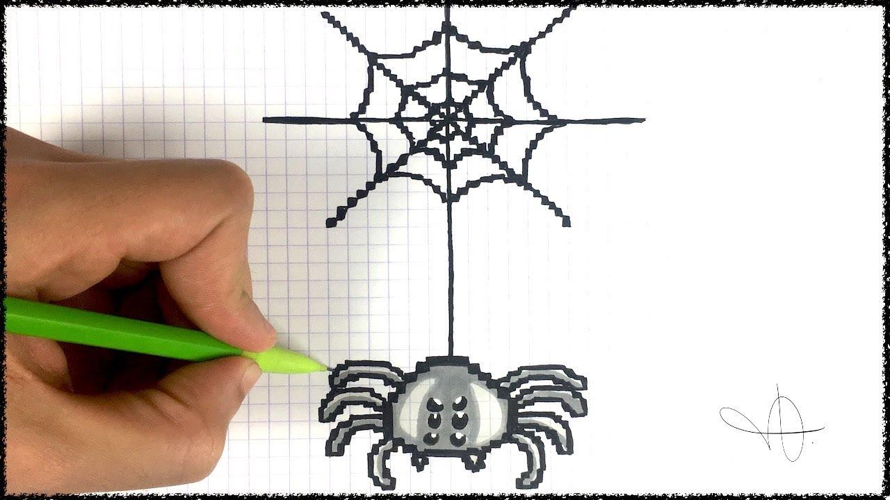 Draw Spider Halloween Pixel Art