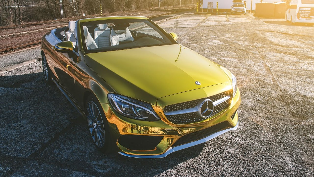E400 Coupe 2018 >> WWW.TUNINGFOLIE.EU - MERCEDES C CABRIO - GOLD CHROME WRAP - YouTube