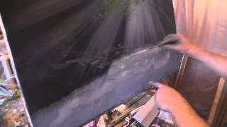 Водопад, лучи света  Видео урок по Живописи Игоря Сахарова