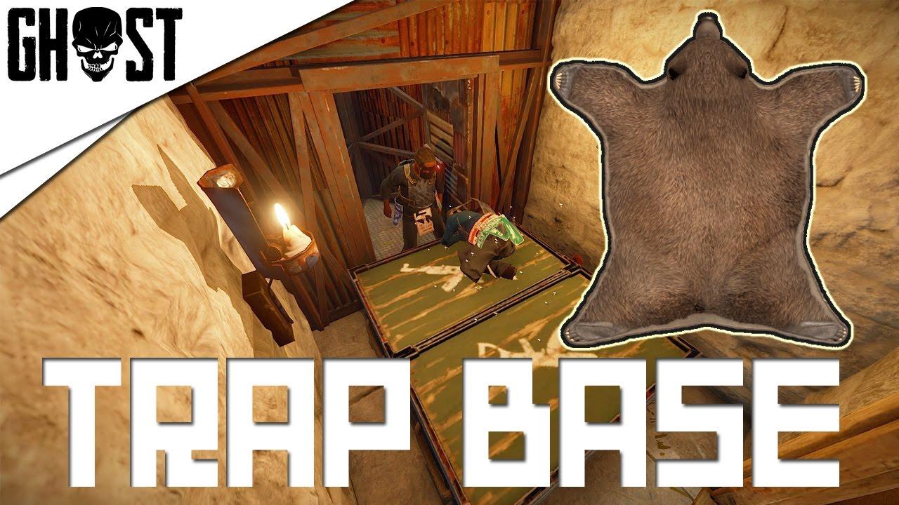 Rust Hiding Door With Bear Rug Trap Base