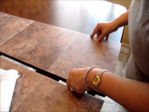 How to fix damaged table top by using stickon tileswmv