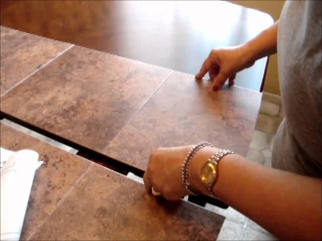 fix damaged table top by using stick on