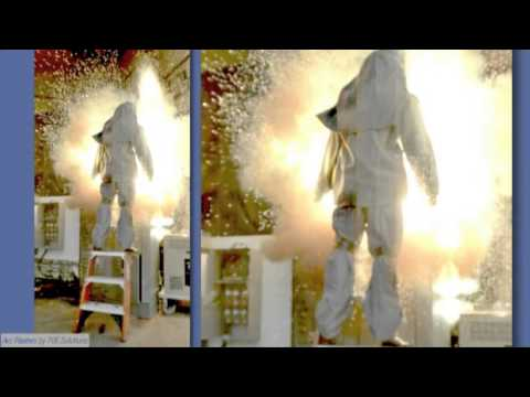 967a1cb280a6 40 CAL Arc Flash Suit - Explosion test on ladder - YouTube