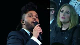 Adele's reaction to The Weeknd Grammy performance
