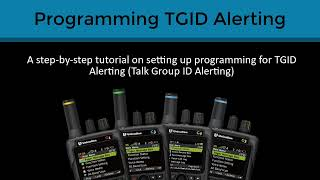 Programming G-Series P25 Voice Pager- TGID Alerting