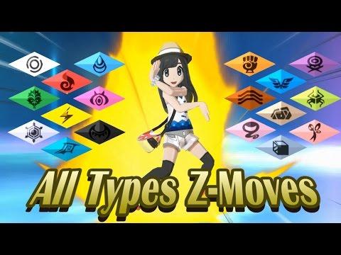 Pokemon Sun & Moon - All Types Z-Moves! (1080p HD)
