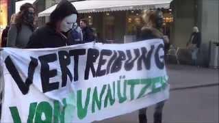 Protestaktion zum Thema  Menschenwürde am Welttag der  Sozialen Arbeit