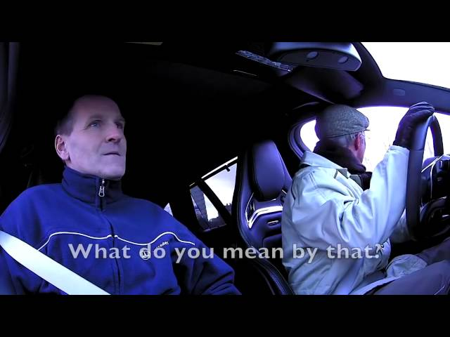 Petter Solberg in disguise drives a Mercedes AMG